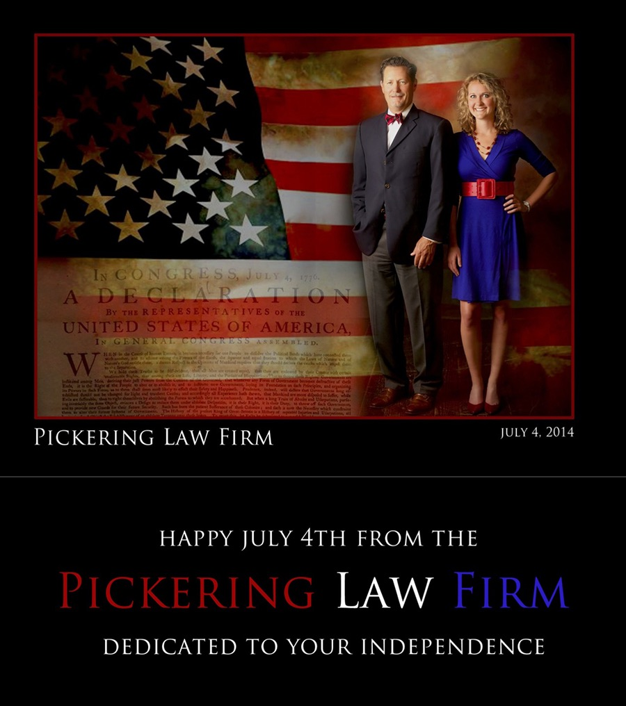 A Fourth of July card from Chris and Margot Pickering of the Pickering Law Firm